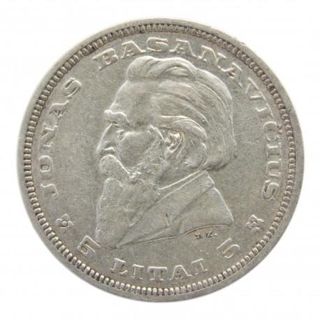 Litwa, 5 litów 1936, Basanavicius, stan 3+