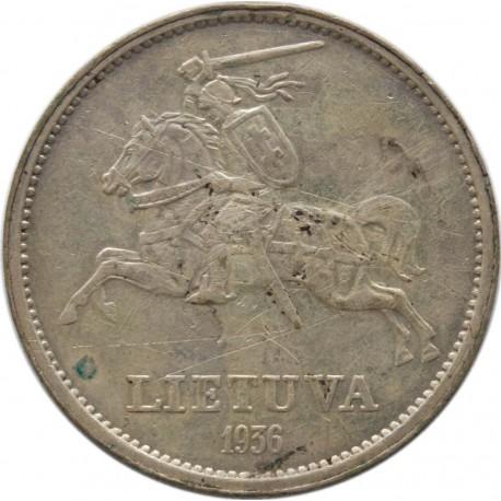 Litwa, 5 litów 1936, Basanavicius, stan 3-