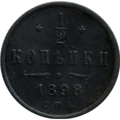 Rosja - 1/2 kopiejki 1898 r. - Mikołaj II, piękny stan