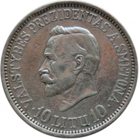 Litwa, 10 litów, 1938, stan 3, bardzo rzadka