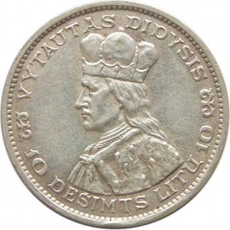 Litwa, 10 litów 1936, Książe Witold, stan 3+