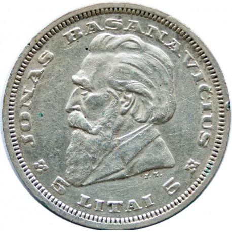 Litwa, 5 litów 1936, stan 3, nalot