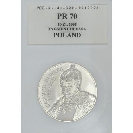 10 zł, Zygmunt III Waza - popiersie, PR70