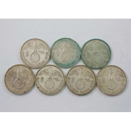 Niemcy, 2 marki 1938, 7 szt (4 x A, 2 x D, 1 x G)