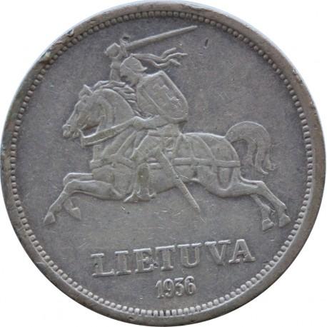 Litwa, 5 litów 1936, Basanavicius, stan 3