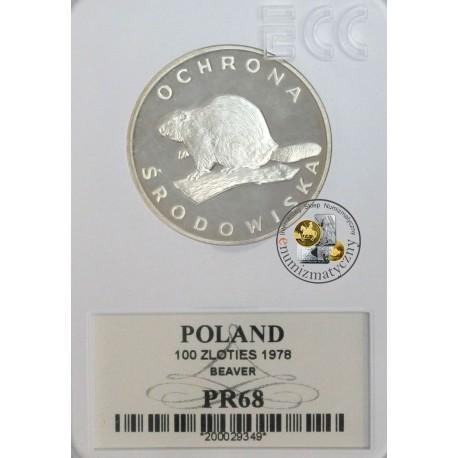 100 zł, Bóbr, 1978 r, grading PR68