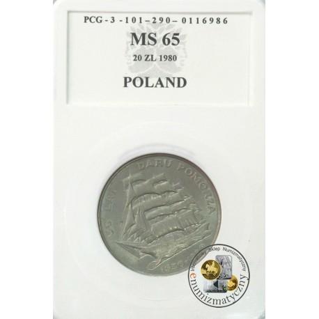 20 zł, 50 lat Daru Pomorza 1930-1980, MS65