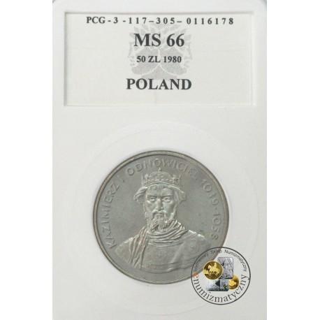 50 zł, Kazimierz I Odnowiciel 1039-1058, MS66 1980