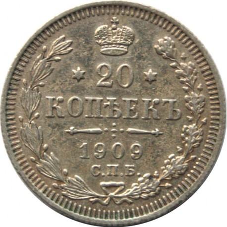 Rosja, 20 Kopiejek 1909, ЭБ, stan 2