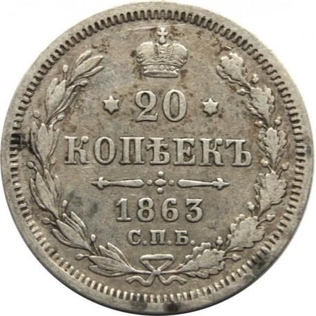 Rosja, 20 kopiejek, 1863 АБ, stan 2-