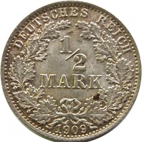 1/2 marki- 1909 A, bardzo ładna, stan 2+