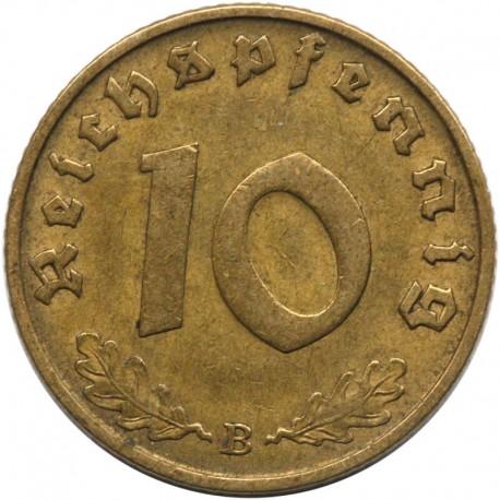 Niemcy, 10 fenigów 1939 B, stan 2-