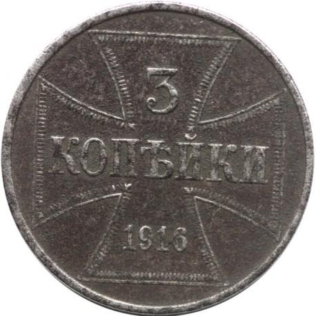 Niemcy 3 kopiejki - Wilhelm II, 1916 J, stan 3+