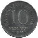 10 Fenigów 1917 FF Królestwo Polskie stan 2-
