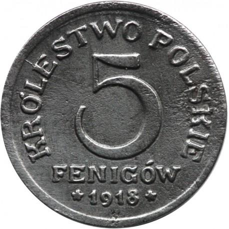 Królestwo Polskie, 5 fenigów 1918, stan 2+