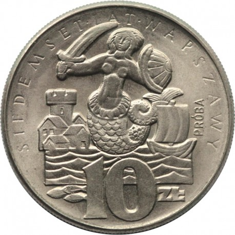 10 zł, Siedemset Lat Warszawy Syrenka, 1965, próba