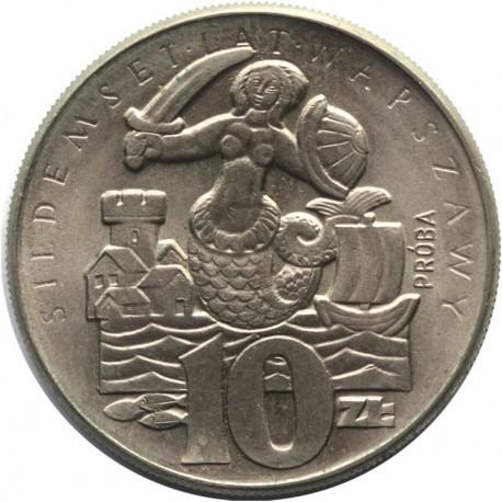10 zł, 700 Lat Warszawy Syrenka, 1965, próba