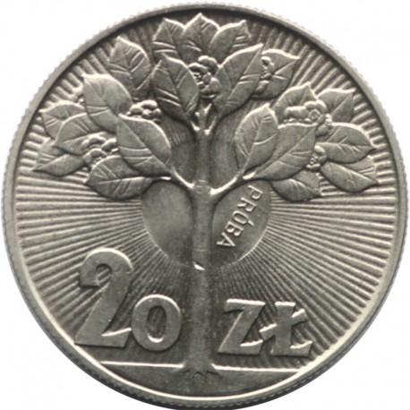 20 złotych kwitnące drzewo 1973 próba, stan 1-