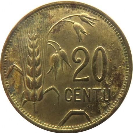 Litwa, 20 Centu, Litwa, 1925, stan 3+