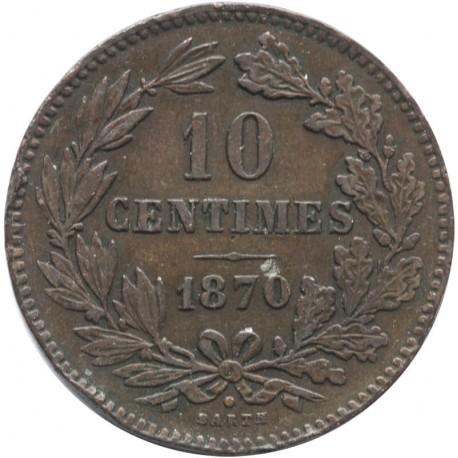 10 centimes, Luksemburg, 1870, stan 3+