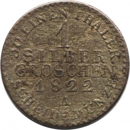 Prusy, 1 srebrny grosz 1822 A, stan 3-