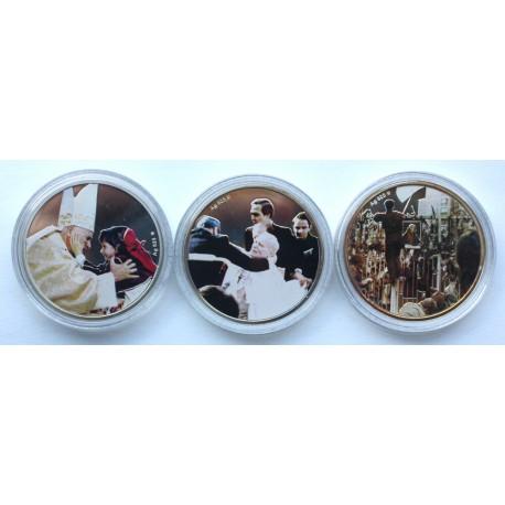 Zestaw 3 medali z Janem Pawełem II srebro Ag 925 + tampondruk