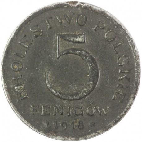 Królestwo Polskie, 5 fenigów 1918, stan 3-