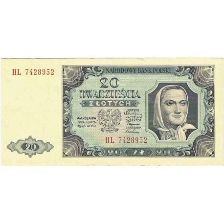 20 zł, 1948, stan 1-/2+, seria CU