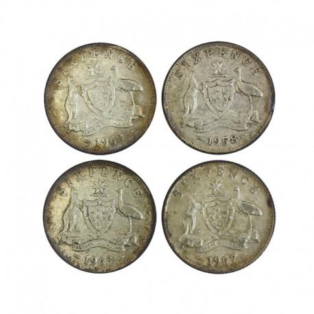 Australia 6 pensów - 1957-1963 - zestaw 4 monet, srebro