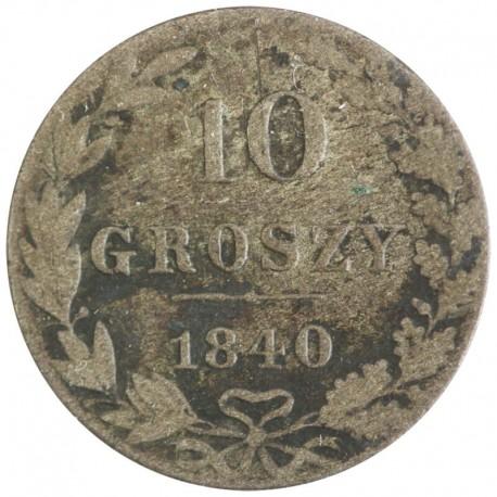 Królestwo Polskie 10 groszy 1840 MW, stan 3-