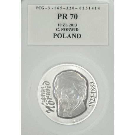 10 zł, Cyprian Norwid,PR 70, 2013