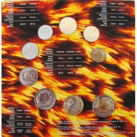 Zestaw polskich monet obiegowych 2012