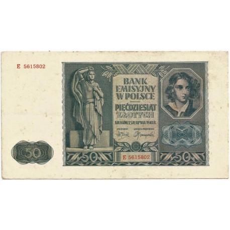 50 złotych 1941, Seria E 5615802, stan 2-