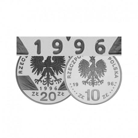 Komplet monet srebrnych 10 i 20 zł z roku 1996