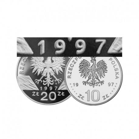 Komplet monet srebrnych 10 i 20 zł z roku 1997