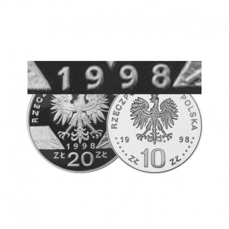 Komplet monet srebrnych 10 i 20 zł z roku 1998