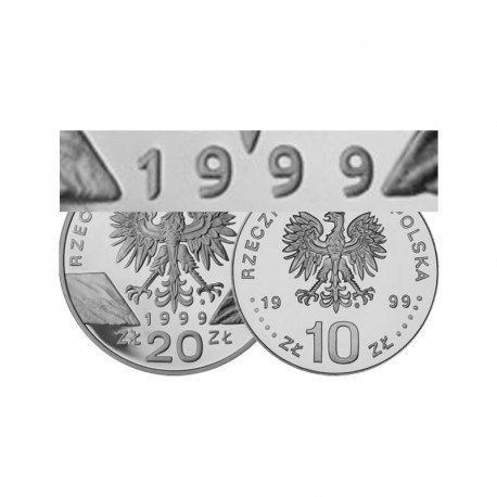 Komplet monet srebrnych 10 i 20 zł z roku 1999