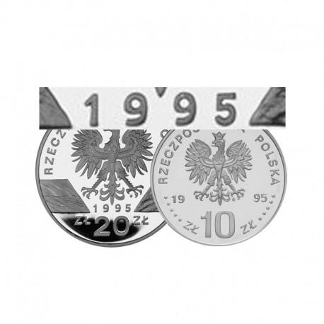Komplet monet srebrnych 10 i 20 zł z roku 1995