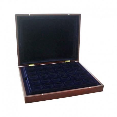 Mahoniowa kaseta na 90 monet w kapslach o średnicy 32 mm - powystawowa