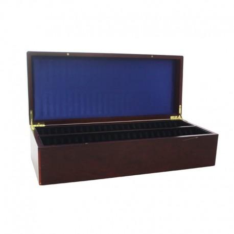 Pudełko mahoniowe na 50 monet w slabach - powystawowe