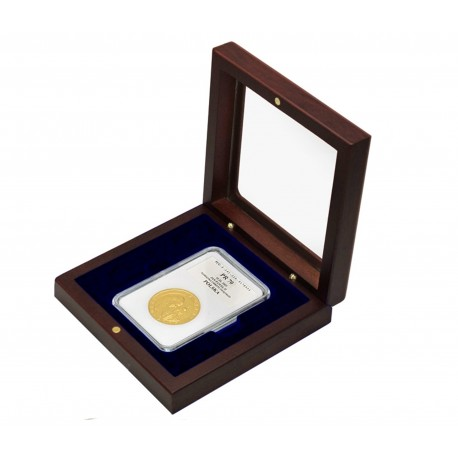 Mahoniowe etui z szybką na monetę w slabie - powystawowe