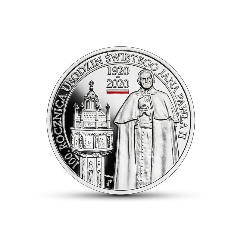 10 zł 100. rocznica urodzin Świętego Jana Pawła II, druk UV