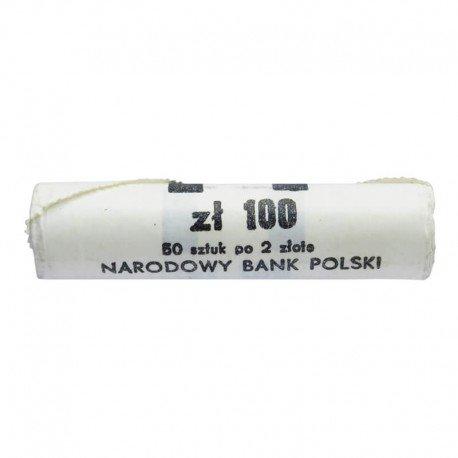 Rolka bankowa 50 szt. x 2 zł, 1990, mennicze