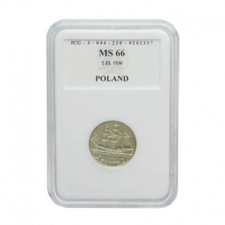 2 zł Żaglowiec 1936 rok, MS66