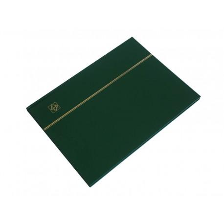 Klaser na znaczki Leuchtturm, 16 stron, zielony, CZARNE karty