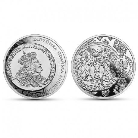 20 zł Historia monety polskiej - złotówka gdańska Augusta III