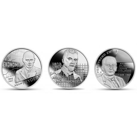 Zestaw 3 x 10 zł ekonomiści marzec 2021: Zweig, Krzyżanowski, Heydel