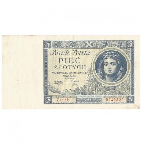 5 złotych 1930 rok, Seria EG 5049807 stan 2