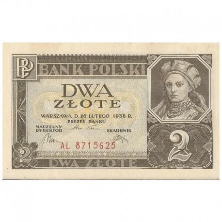 Banknot 2 zł, 1936r, stan 1-, seria AL