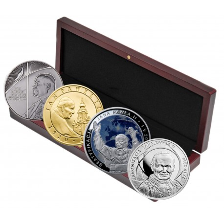 4x srebro etui, Pielgrzym, Pontyfikat, Beatyfikacja, Kanonizacja